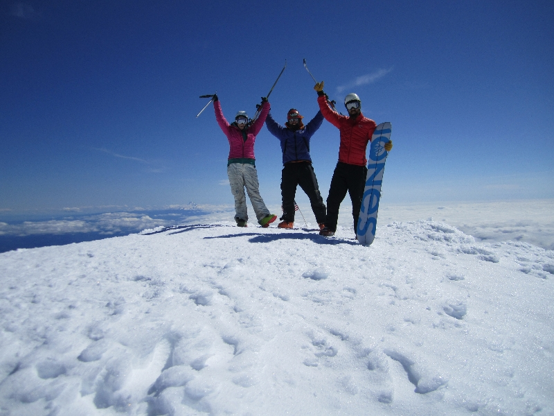Daryl Greaser Nick Worden and Katt McClaine on summit of Mt. Adams Washington