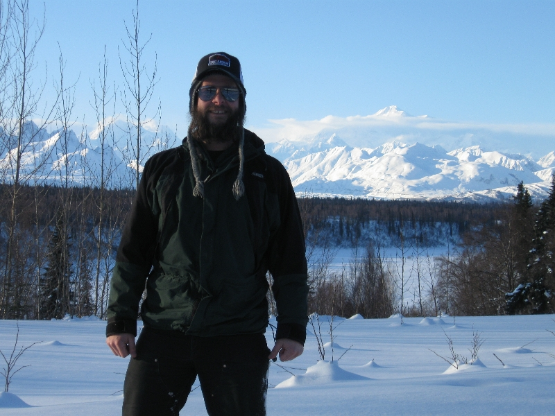 Daryl Greaser and Mt. McKinley, Denali, Alaska.