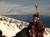 Katt McClaine with Mt. Adams in the background, which we would climb 6 months later. Photo 1/1/2012