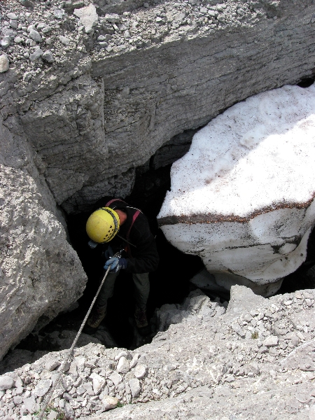 Brian checking one of innumerable leads, Scapegoat Wilderness, Montana, Copyright Daryl Greaser