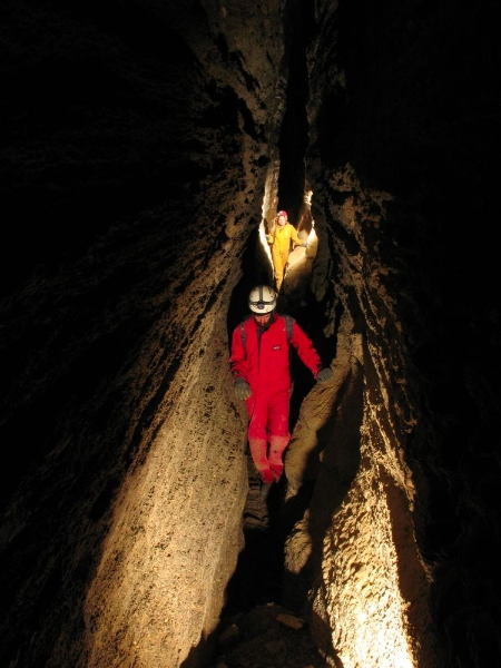 Cavers in typical canyon passage of the Kathy's Icebox section of the Scapegoat Cave System, Copyright Mike McEachern