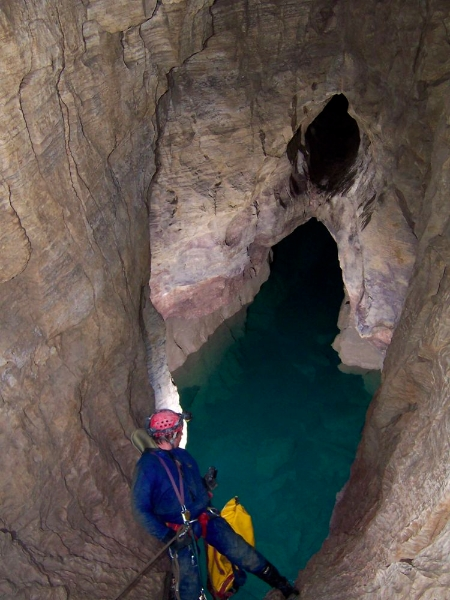 Drop before the longest swim in the cave, Scapegoat Cave System, Copyright Marc Pederson