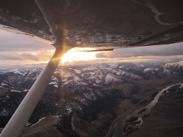 On our return flight from Hot Springs we witnessed an awesome sunset. Copyright Katt McClaine