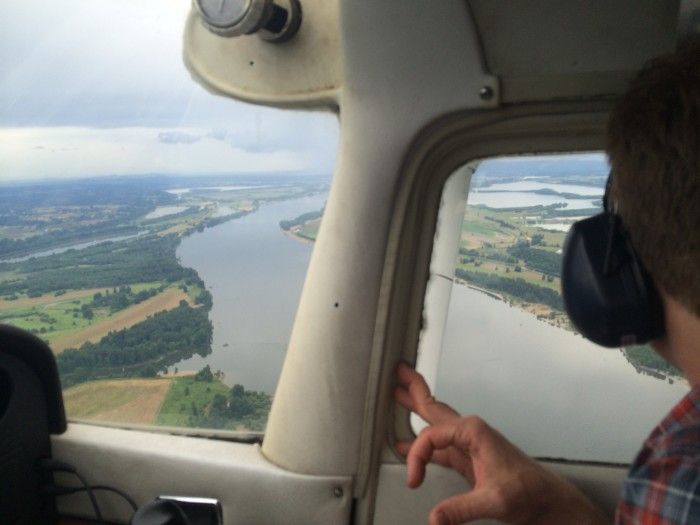 Flying over the Columbia River