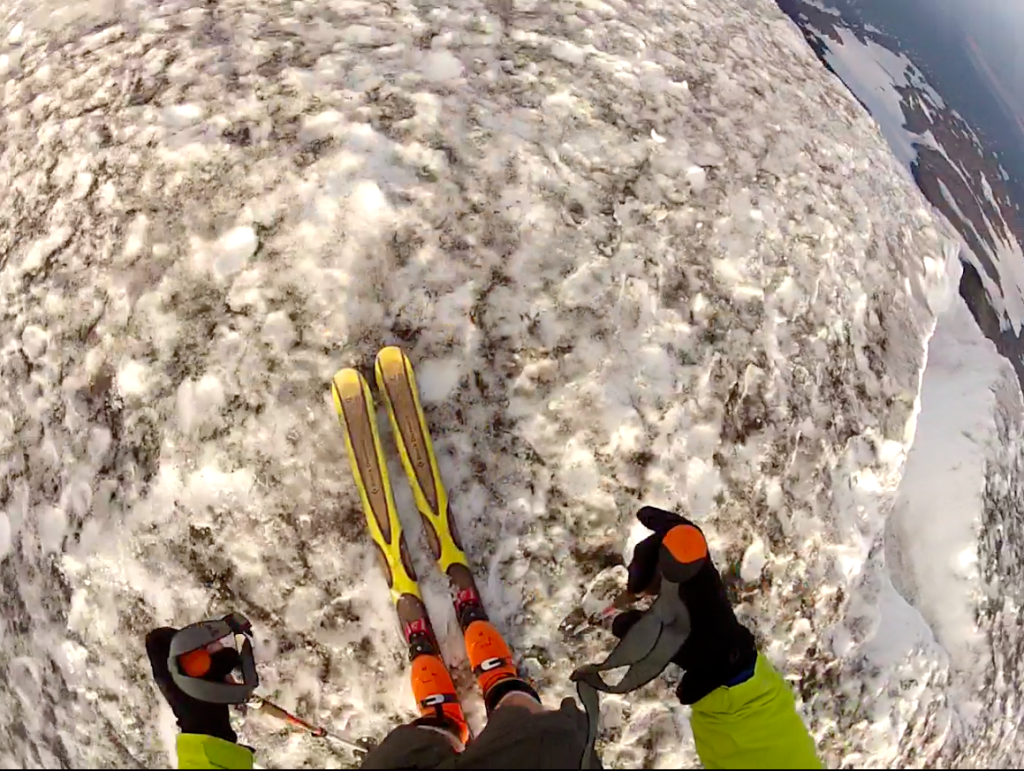 Skiing in shorts, check. 3-foot deep runnel, avoid. Daryl Greaser Mt. Adams August 2014