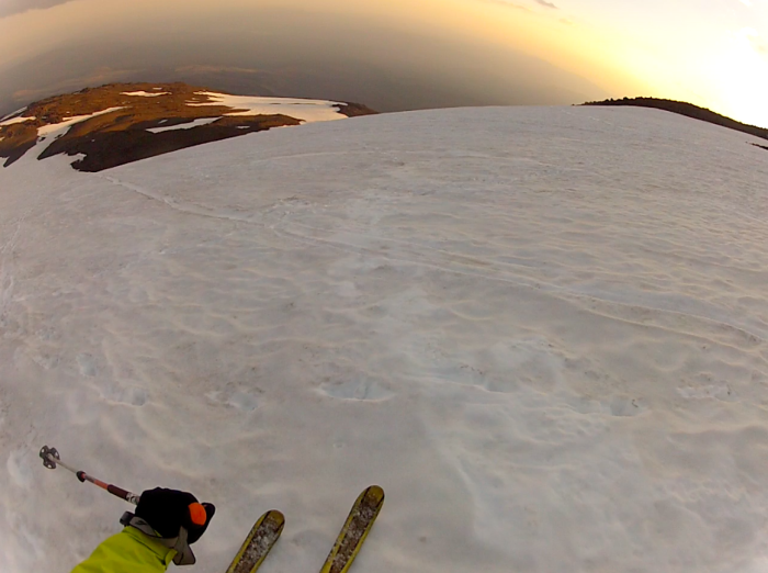 Skiing the face above the lunch counter at sunset, 3 August 2014