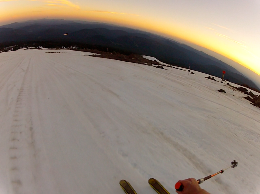 What does one do during a 97-degree day in Portland? GO SKIING! Cruising the Palmer at Sunset, Timberline, July 2014
