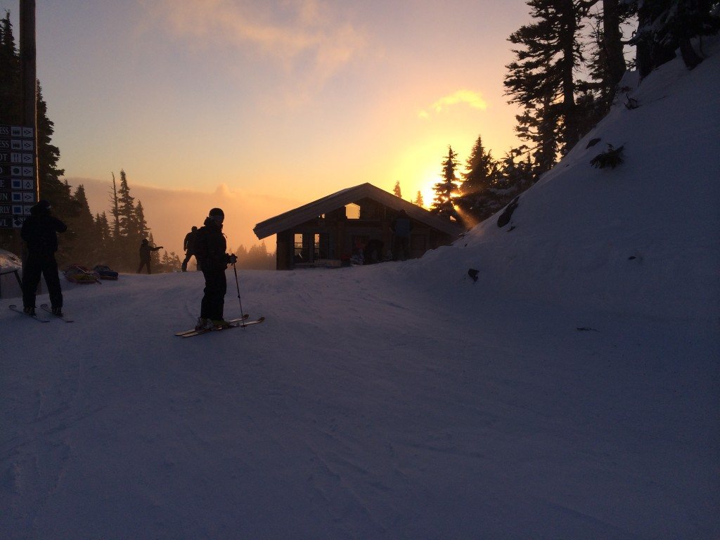 Katt skis into the sunset. One year in the bag!